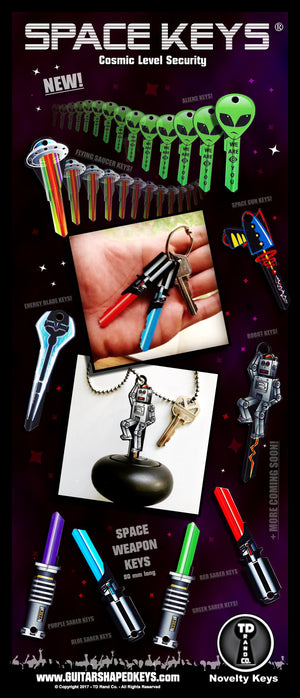 Space Keys by TD RAND CO. Promo image, Space weapon keys, Lightsaber keys, UFO Keys, Alien Keys, Robot, Space Gun key,