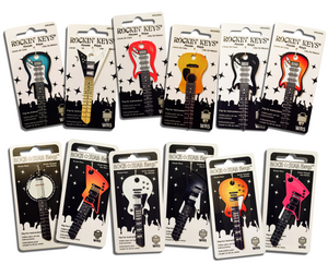 Set of 12 Rockin' Keys Guitar Shaped Keys Rock Star Keys