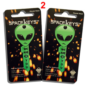 2 Green Alien Head Shaped Space Keys