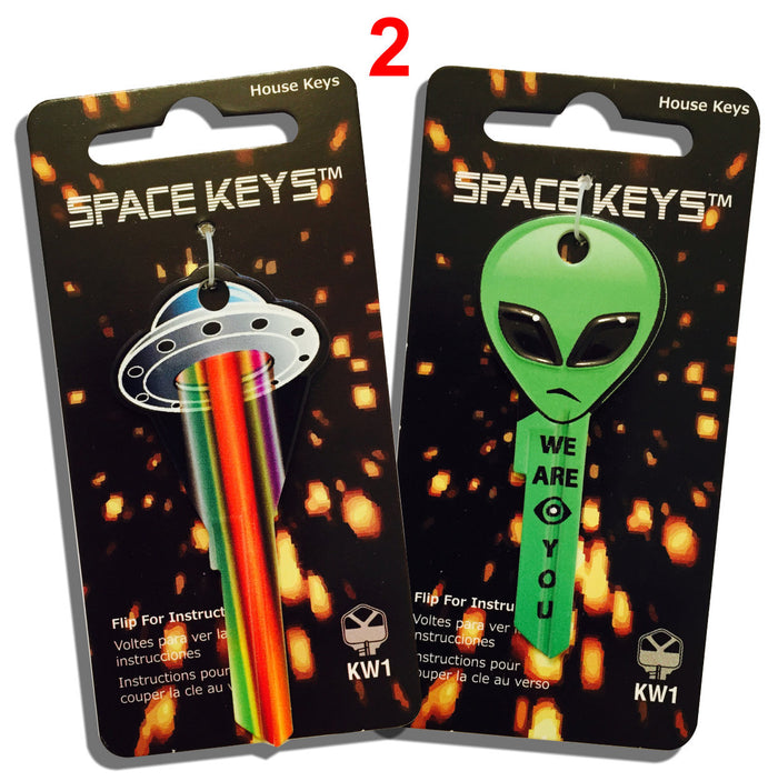 2 UFO and Alien Head Shaped Space Keys