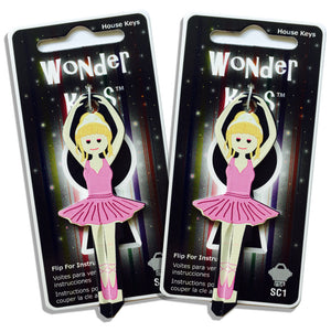 2 Pink Dress Ballerina Shaped Wonder Keys!