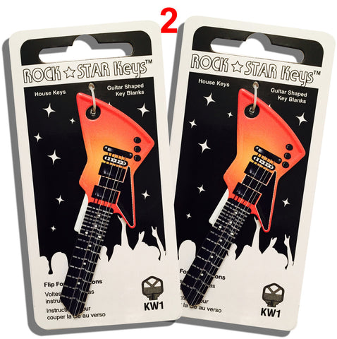 2 Orange EXP Guitar Shaped Rock Star Keys