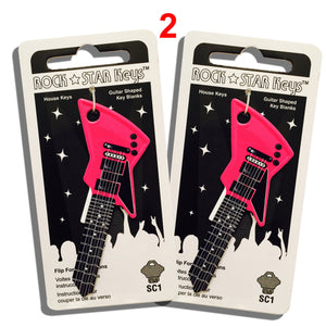 2 Pink EXP Guitar Shaped Rock Star Keys