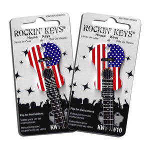 2 American Flag USA Acoustic Guitar Shaped Rockin' Keys