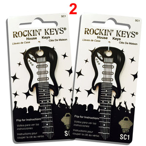 2 Black Electric Guitar Shaped Rockin' Keys