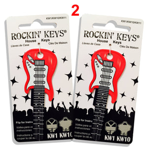 2 Red Electric Guitar Shaped Rockin' Keys