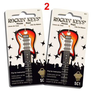 2 Sunburst Electric Guitar Shaped Rockin' Keys