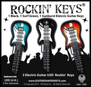 3 Electric Guitar Shaped Rockin' Keys - Black, Sunburst, Surf Green.