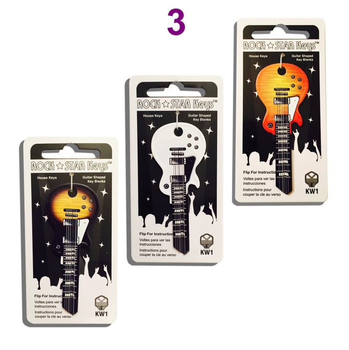 Full Set of (3) LP Wide Body Guitar Shaped Rock Star Keys