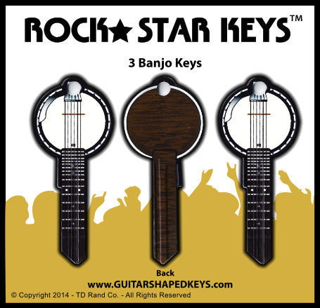 3 Banjo Guitar Shaped Rock Star Keys