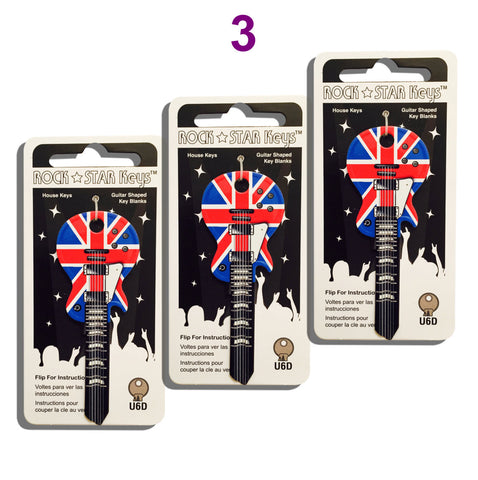 3 Union Jack LP Guitar Shaped Rock Star Keys - (EUROPE ONLY)