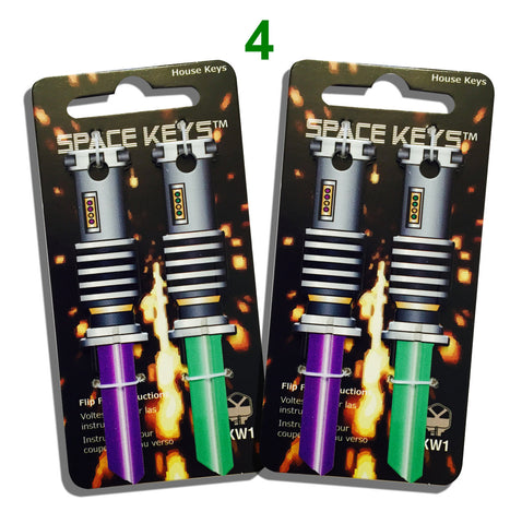 4 Green and Purple Saber Shaped Space Keys