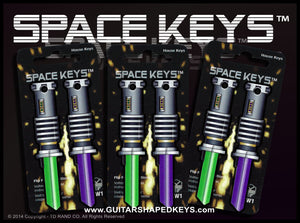 6 Green and Purple Saber Shaped Space Keys