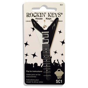 Black V Guitar Shaped Rockin' Key