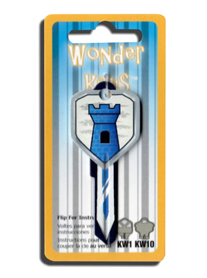 Blue Castle Shield and Sword Shaped Wonder Key! NEW!