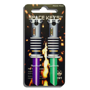 2 Green and Purple Lightsaber Shaped Space Keys