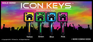 4 Bright Colored Over Sized Key Head ICON Keys