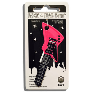 Hot Pink and Black EXP Guitar Shaped Rock Star Key