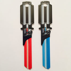 4 Red and Light Blue Saber Shaped Space Keys