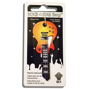 Sunburst LP Guitar Shaped Rock Star Key