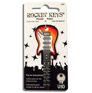 Sunburst Electric Guitar Shaped Rockin' Key