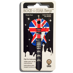 Union Jack LP Guitar Shaped Rock Star Key