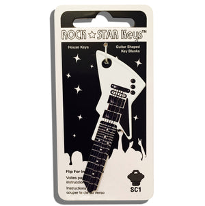 White EXP Guitar Shaped Rock Star Key