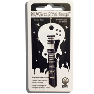 White Wide Body LP Guitar Shaped Rock Star Key