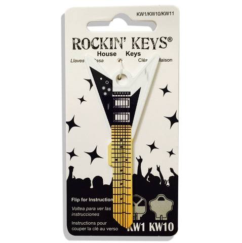 White V Guitar Shaped Rockin' Key