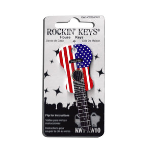 American Flag USA Acoustic Guitar Shaped Rockin' Key