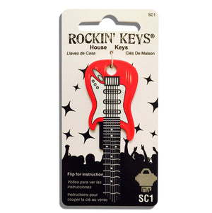 Cherry Red Electric Guitar Shaped Rockin' Key