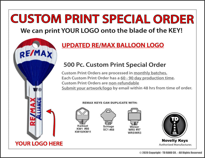 Special Order - 500 pcs. RE/MAX Hot Air Balloon Keys with Custom LOGO printing