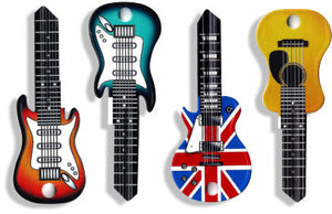 Four Pack Guitar Shaped Rockin' Keys (EUROPE ONLY) Sunburst, Surf Green, Acoustic, Union Jack