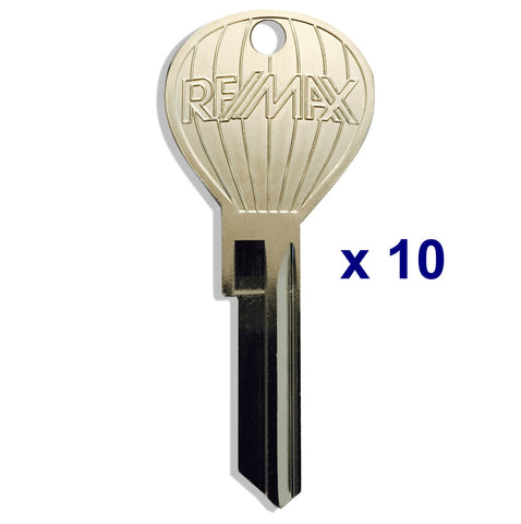 10 pcs. OLD RE/MAX LOGO - Hot Air Balloon Shaped Keys - Nickel Plate Finish