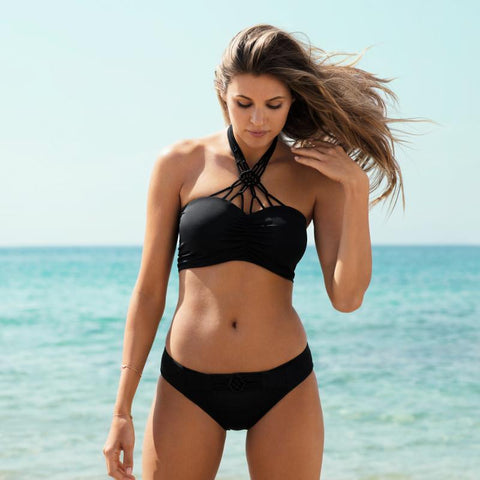 Freya-Swim-Macrame-Black-Bandeau-Bikini-Top-AS4053BLK-Brief-AS4057BLK-Lifestyle