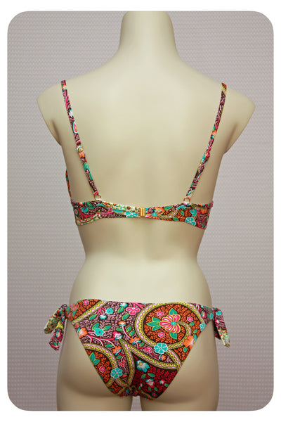 Floral & Paisley Print Bikini Top & Swim Brief - Back