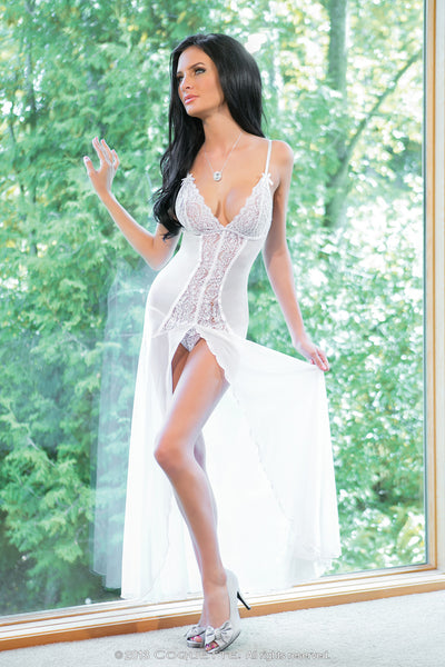 Coquette Lingerie Floor Length Night Gown White CQ1680 Front