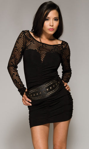 Forplay-Netted-Neckline-Black-Mini-Dress-Front