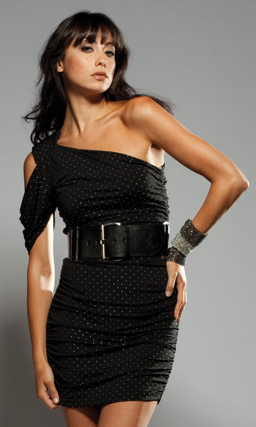 Forplay-One-Shoulder-Studded-Black-Mini-Dress-Front