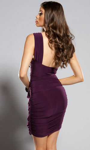 Forplay-One-Shoulder-Draped-Purple-Dress-Back