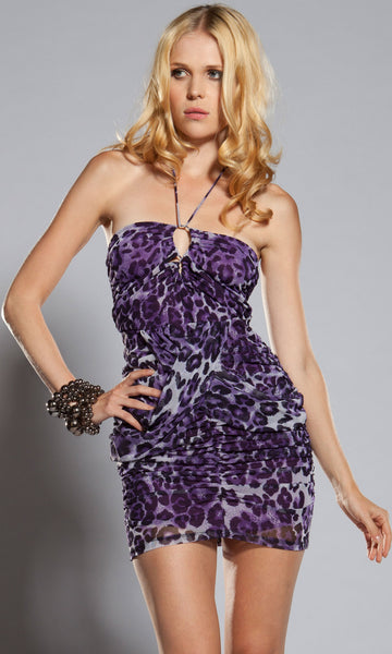 Forplay-Leopard-Print-Bandeau-Halter-Mini-Dress-Front