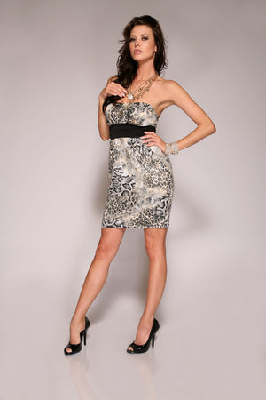 Reptile-Print-Strapless-Dress-Front