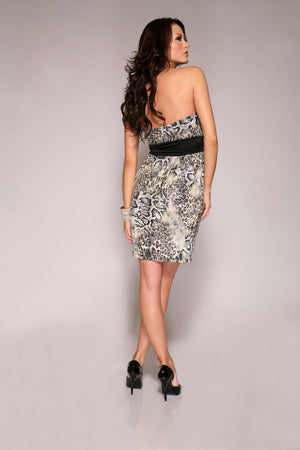 Reptile-Print-Strapless-Dress-Back