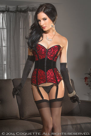 Coquette CQ3578 Red/Black Damask Corset Front