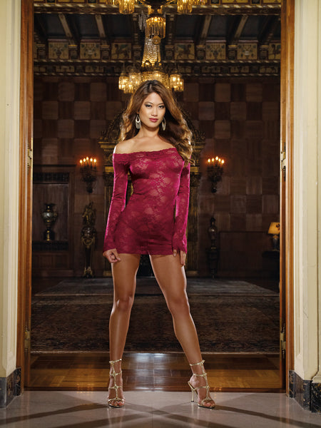 Dreamgirl-Lingerie-Raspberry-Long-Sleeved-Chemise-DG4208