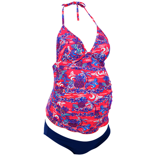 Anita-Kamaka-Pineapple-Print-Maternity-Tankini-Swimsuit-Brief-9624549-Front