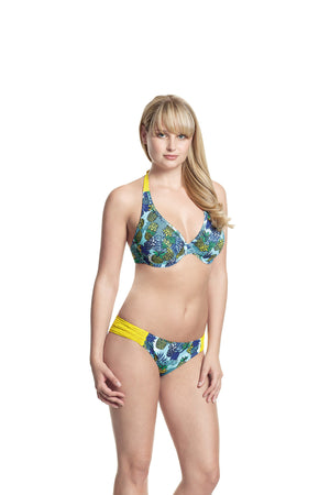 Cleo-Carmen-Nonpadded-Plunge-Bikini-Top-Tropical-Print-CW0114-Gathered-Swim-Pant-CW0116