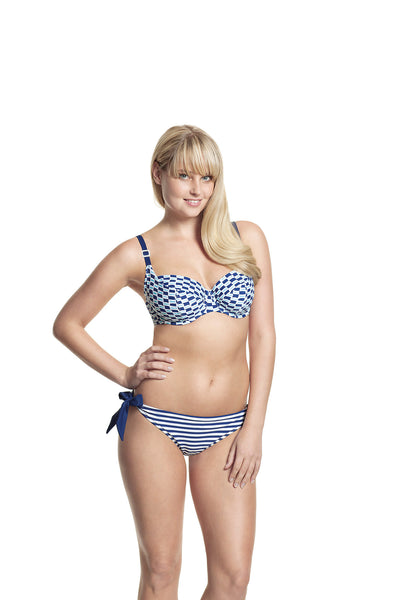 Cleo-Lucille-Non-Padded-Balconette-Bikini-Nautical-Print-CW0064-Tie-Side-Pant-Nautical-Strip-CW0068-Front