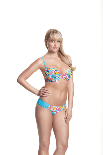 Cleo-Swim-Lulu-Plunge-Bikini-Top-Floral-Print-CW0094-Gathered-Brief-CW0096-Front