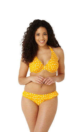 Cleo-Swimwear-Betty-Yellow-Spot-Halterneck-Bikini-Top-CW0034-Frill-Brief-CW0039-Front